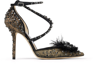 Jimmy Choo ODETTE 100 Black Lace Wraparound Heels with Feather and Crystal embellishment