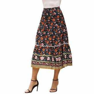 Fransande Bohemian Chic Hippie Women Beach Floral Print High Elastic Waist a Line Bohemian Long Skirt Female White M Size