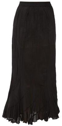 Mes Demoiselles Casta Curved-panel Crinkled Cotton Skirt - Womens - Black