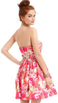 B. Darlin Juniors Dress, Strapless Floral-Print A-Line