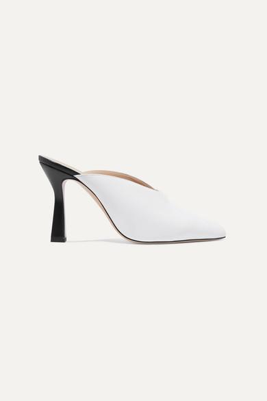Wandler Niva Two-tone Leather Mules - White