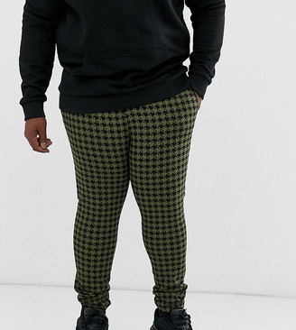 ASOS DESIGN Plus tapered crop smart trousers in khaki dogtooth check with turn up