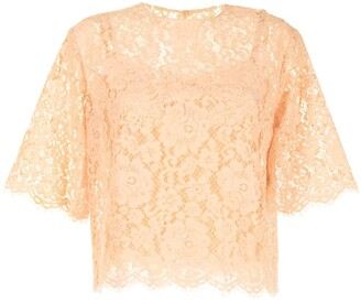 Dolce & Gabbana Short-Sleeve Lace Top