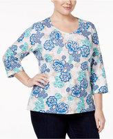 Karen Scott Plus Size V-Neck Floral-Print Top, Only at Macy's