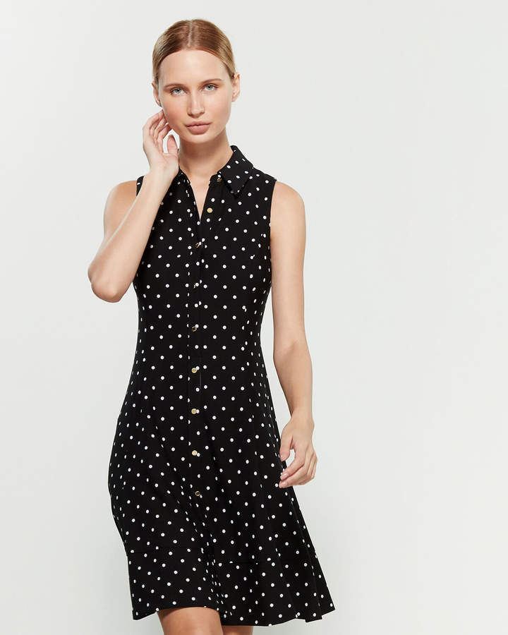 DKNY Polka Dot Print Sleeveless Shirtdress