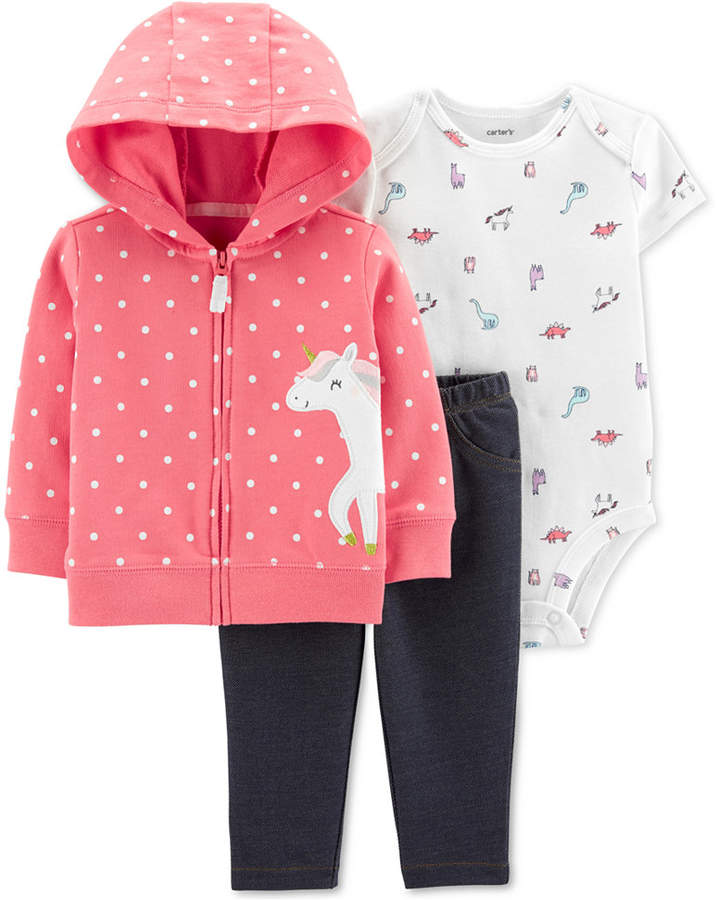 ba18a5ffb Carter Baby Girls 3-Pc. Unicorn Hoodie, Bodysuit & Denim Leggings Set