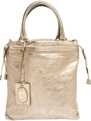 Etro Metallic Gold Paisley Embossed Leather Drawstring Tote