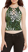 GUESS Misfit Palm Printed Lace-Up Tank Top