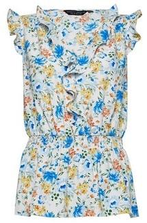 Dorothy Perkins Womens Multi Colour Floral Ruffle Sleeveless Top