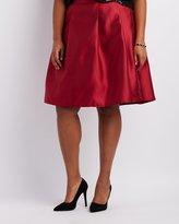 Charlotte Russe Plus Size Satin Pleated Midi Skirt