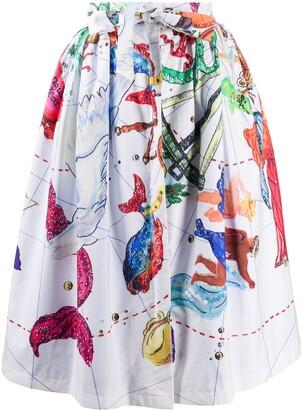 Stella Jean Zodiac Print Midi Skirt