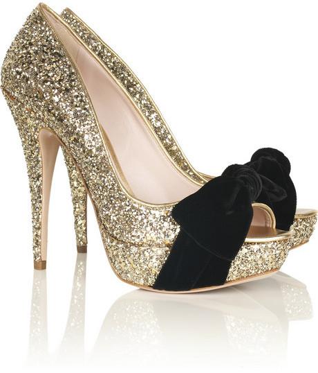Miu Miu Glitter peep-toe pumps