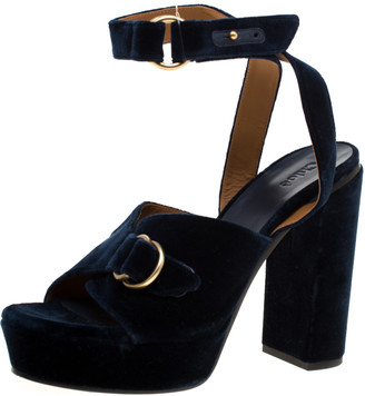 Chloé Dark Blue Velvet Block Heel Cross Strap Platform Sandals Size 40