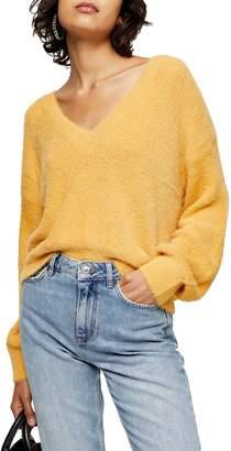 Topshop Fluffy V Crop Sweater