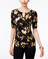 Thalia Sodi Printed Ruched Hardware Top, Only at Macy's