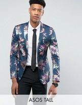 Asos Tall Super Skinny Suit Jacket In Navy Tropical Floral Print In Sateen
