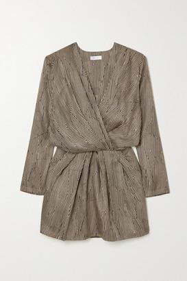 Anine Bing - Kate Wrap-effect Printed Silk-twill Mini Dress - Sand
