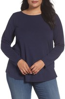 Sejour Plus Size Women's Ballet Neck Long Sleeve Tee