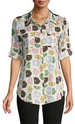 Karl Lagerfeld Paris Signage-Print Long-Sleeve Shirt