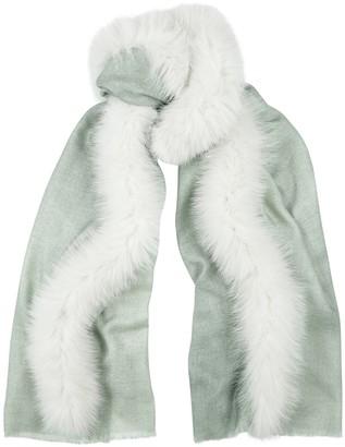 AMA Pure Grey Fur-trimmed Wool Scarf