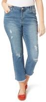 Evans Plus Size Women's Destroyed Crop Jeans