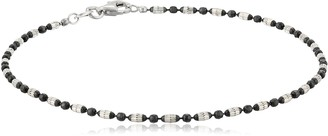 Amazon Collection Italian Sterling Silver Rhodium and Black Ruthenium Plated Diamond-Cut Oval and Round Beads Mezzaluna Chain Anklet 9""