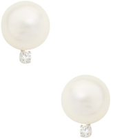 14K White Gold, South Sea Pearl & 0.10 Total Ct. Diamond Stud Earrings