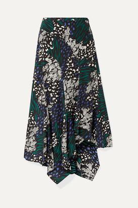 Veronica Beard Mac Asymmetric Animal-print Stretch-silk Crepe De Chine Midi Skirt - Blue