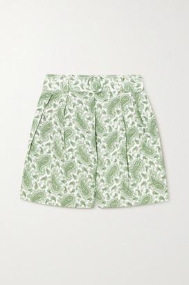 Faithfull The Brand Net Sustain Ondine Belted Paisley-print Linen Shorts