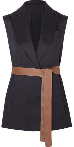 Brunello Cucinelli Belted Bead-embellished Silk-faille Trimmed Herringbone Cotton-blend Vest - Black