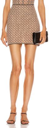 Miaou Moni Mini Skirt in Nude Monogram | FWRD