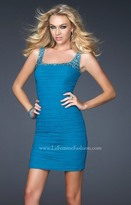 La Femme Sumptuously Pleated Square Sheath Cocktail Dress 17076