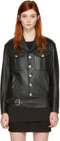 Versus Black Leather Logo Patch Jacket