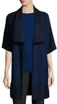 St. John Inlay Knit Shawl-Collar Half-Sleeve Cardigan, Azzurine/Caviar