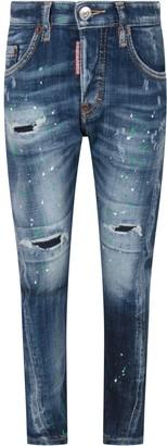 DSQUARED2 Denim twist Boy Jeans With Colorful Spots