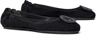 Tory Burch Minnie Embellished-Logo Travel Ballet Flat, Suede