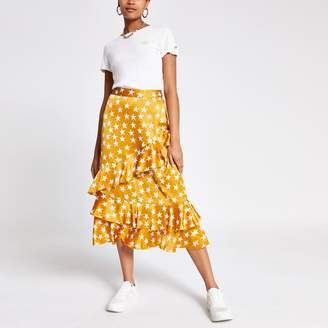 River Island Womens Yellow star print frill midi skirt