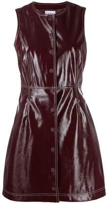 Ganni faux-patent mini dress