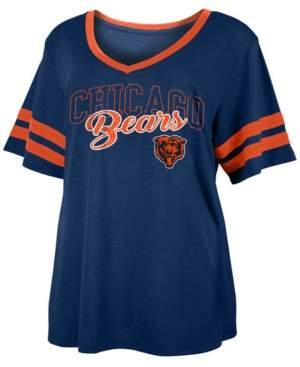 5th & Ocean Women's Plus Size Chicago Bears Sleeve Stripe Slub T-Shirt