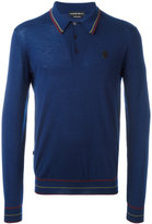 Alexander McQueen skull patch knitted polo shirt - men - Cashmere - S
