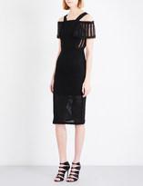 Roland Mouret Sinclair cold shoulder linen-mesh midi dress