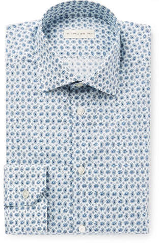Etro White Slim-Fit Paisley-Print Stretch-Cotton Poplin Shirt - Men - Blue