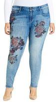 William Rast Plus Floral Print Skinny Jeans