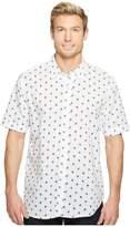 True Grit Paradise Palm Short Sleeve Cotton and Linen Shirt w/ Stitch Details