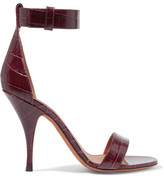 Givenchy Sandals In Burgundy Croc-effect Leather - Claret