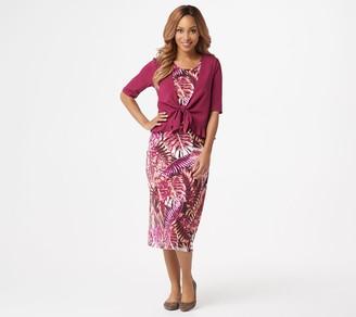 Denim & Co. Printed Jersey Sleeveless Midi Dress with Solid Shrug