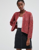 MANGO Textured Cotton Blend Jacket With Embossed Detail