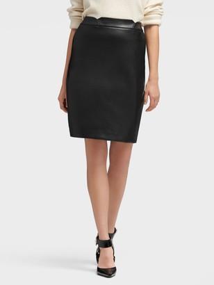 DKNY Women's Faux Leather Pencil Skirt - Black - Size 00