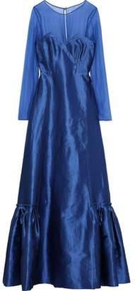 Alberta Ferretti Chiffon-paneled Linen-blend Faille Gown