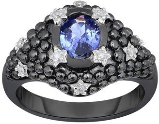 1.10 cttw Tanzanite & Diamond Ring, Black-Plated Sterling